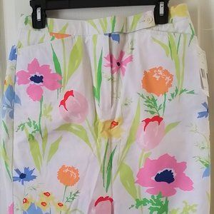 NWT Liz Claiborne Floral Skirt Size 6 White